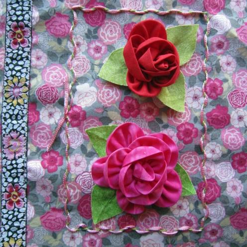 Fabric Roses and Ribbon